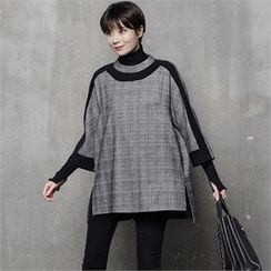HALUMAYBE - Raglan-Sleeve Check Top