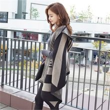 Styleberry - Hooded Open-Front Patterned Knit Poncho