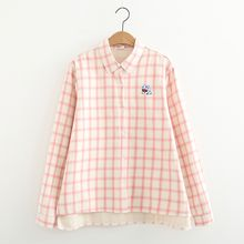 ninna nanna - Plaid Fleece-lined Long-Sleeve Blouse