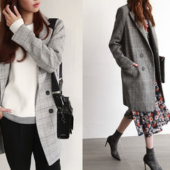 NIPONJJUYA - Double-Breasted Checked Wool Blend Coat