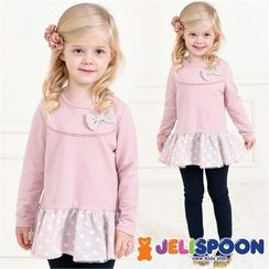 JELISPOON - Kids Bow-Front Polka Dot Dress