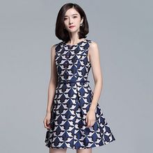 Sentubila - Patterned Sleeveless A-Line Dress