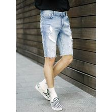 JOGUNSHOP - Fray-Hem Distressed Denim Shorts