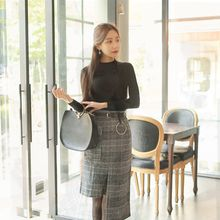 Cherryville - Set: Mock-Neck Knit Top + Check Skirt with Belt