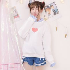 Moriville - Heart Embroidered Pullover