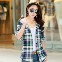 Carreau - Hooded Plaid Shirt