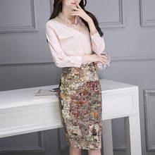 Ekim - Set:  Plain Blouse + Print Skirt