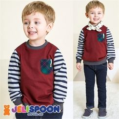 JELISPOON - Boys Striped-Sleeve Pocket-Front Sweatshirt