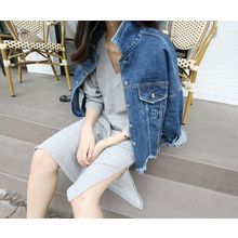 MARSHMALLOW - Fray-Trim Denim Jacket