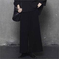 HALUMAYBE - Band-Waist Wide-Leg Pants