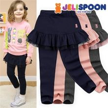 JELISPOON - Girls Inset Ruffle-Hem Skirt Leggings