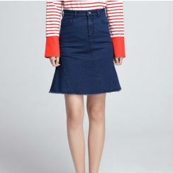 Sentubila - Denim A-line Skirt