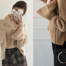 NIPONJJUYA - Bell-Sleeve Pointelle-Knit Thick Sweater
