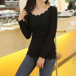 Hyoty - Long-Sleeve Scalloped Trim T-Shirt
