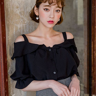 chuu - Off-Shoulder Frill-Trim Blouse