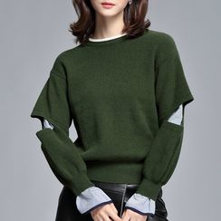 Sentubila - Cutout Mock Two-Piece Pullover