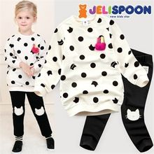 JELISPOON - Girls Set: Polka-Dot Sweatshirt with Brooch + Knee-Patch Leggings
