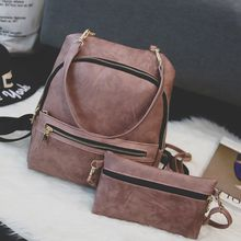 Merlain - Set: Faux Leather Backpack + Shoulder Bag