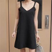LIPHOP - V-Neck Sleeveless Dress