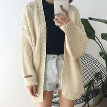 Dute - Puff-sleeve Cable Knit Cardigan