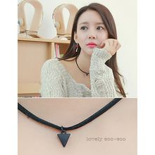 soo n soo - Triangle Pendant Faux-Leather Necklace