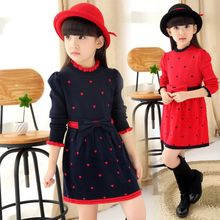 Lovenest - Heart Frill Trim Long-Sleeve Knit Dress