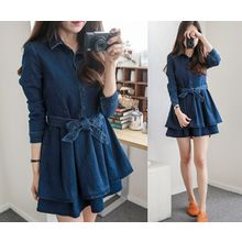 demavie - A-Line Denim Dress with Sash
