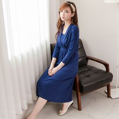 Mother Bear - Maternity 3/4-Sleeve Nursing Midi Dress
