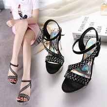 Monde - Rhinestone Strappy Heeled Sandals