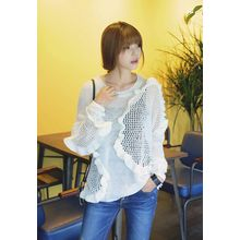 REDOPIN - Frilled Sheer Knit Top