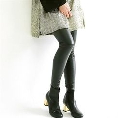 GLAM12 - Fleece-Lined Faux-Leather Leggings