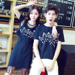 Je T'aime - Couple Matching Rabbit Print Short-Sleeve T-Shirt / T-Shirt Dress