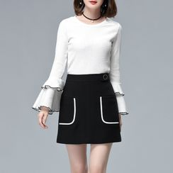 Sentubila - Layered Bell-Sleeve Top