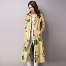 Salisha - Printed Open Front Long Jacket