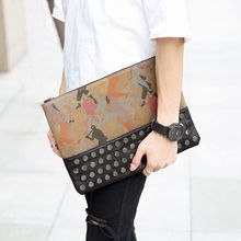 BagBuzz - Studded Faux Leather Panel Clutch