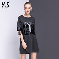 Y:Q - Mesh Panel Printed T-Shirt Dress