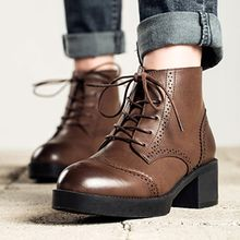 MIAOLV - Lace Up Short Boots