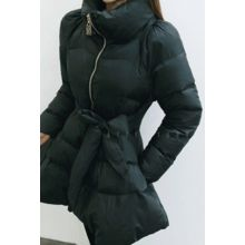 ATTYSTORY - Stand-Collar Padded Coat with Sash