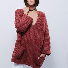 Isadora - Plain V-Neck Thick Long Sweater