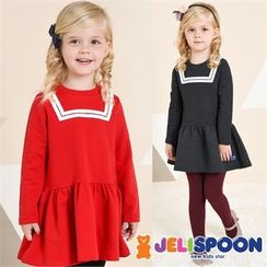 JELISPOON - Girls Contrast-Trim Ruffle-Hem Dress