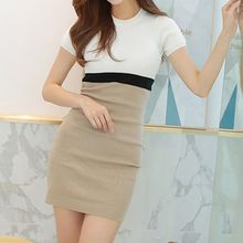Aurora - Short-Sleeve Color-Block Knit Sheath Dress
