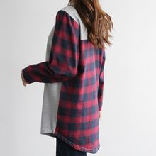 CLICK - Contrast-Panel Plaid Mini Pullover Dress