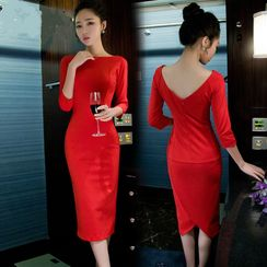 Clospace - Plain 3/4-Sleeve Midi Bodycon Dress