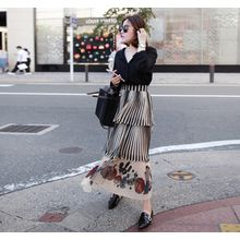 Miamasvin - Patterned Chiffon Long Tiered Skirt