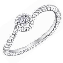 MaBelle - 18K White Gold Diamond Solitaire Halo Stackable Twisted Band Wedding Ring (0.07ct)