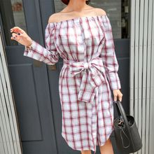 PPGIRL - Off-Shoulder Checked Dress With Sash