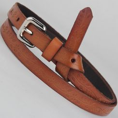 Goldenrod - Genuine Leather Skinny Belt