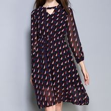 GRACI - Patterned Keyhole Front Chiffon Dress