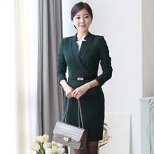 Eleganza - Long-Sleeve V-Neck Sheath Dress