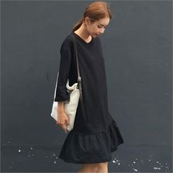 QNIGIRLS - 3/4-Sleeve Ruffle-Hem Dress